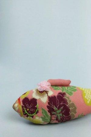 画像1: ' Madam Junko'のオーガニック・キャットニップ お魚 《和花柄と鹿の子絞り風》