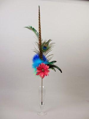 画像1: 孔雀とキジの花束 ピンクレッド(ブティック卑弥呼)